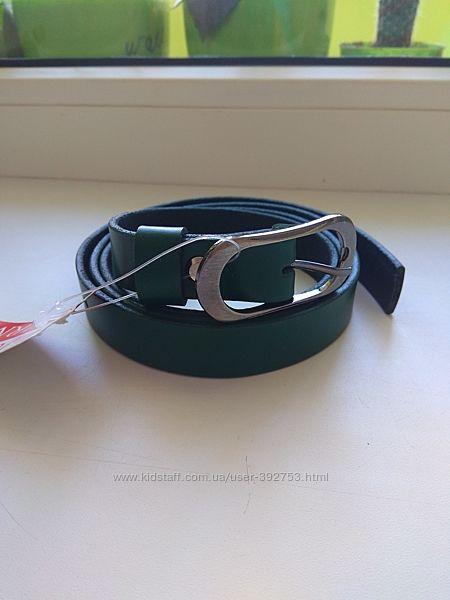 зелёный кожаный ремень ширина 2 см