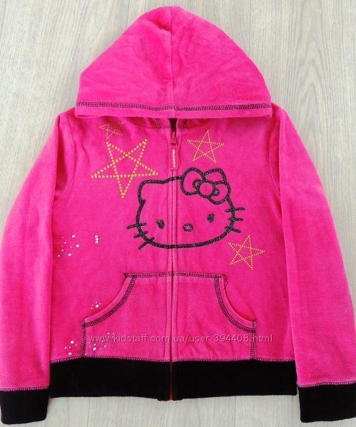 Яркая велюровая кофточка Hello Kitty  с камушками и в паетках на 6 лет
