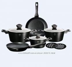 Набор посуды BH-1535, 10 пр. Ebony Maple Line гранитно-мраморное покрытие
