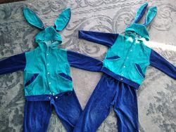 Велюровый костюм Зайка, можно двойняшками