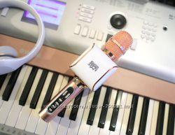 Караоке Микрофон EverStar i8 Беспроводной Bluetooth FM Розовый Rose gold