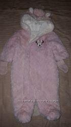 Теплый комбинезон Disney c Minnie MATALAN Англия, на 3-6 мес. рукавички