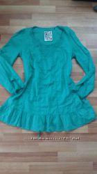 Батистовая удлиненная блуза с вышивкой, р-р 48-50