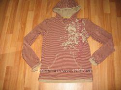 Полосатый Хлопковый реглан-худи с капюшоном на подростка, 100котон
