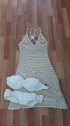 Фирменное вязаное пляжное платье, с-м