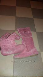 Замшевые розовые сапоги, р-р 39-4025, 5, с перфорацией. италия