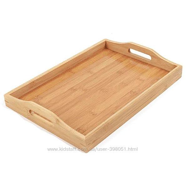 Поднос бамбуковый с ручками поднос деревянный