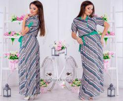 Платье длинное, летнее из штапеля размер 54-56