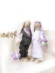 Свадебные зайки жених невеста молодожены весілля подарок годовщина тильда