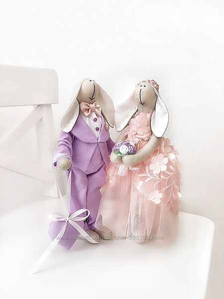 Нарядная пара зайцев тильда Жених и Невеста молодожены подарок на свадьбу