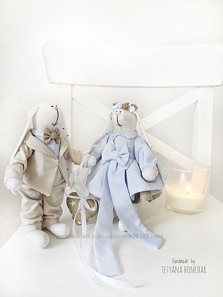Свадебные зайки тильда подарок на свадьбу весілля жених невеста молодожёны