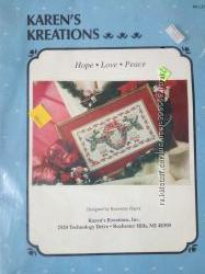 Набор для вышивки KAREN&acuteS KREATIONS HOPE LOVE PEACE рождественский орнамент