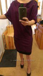 Бомбезное платье баклажанного цвета L-M