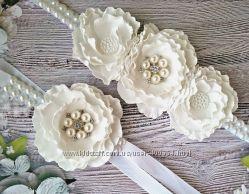 украшение на пучок гульку, на руку гребень цветы ручной работы