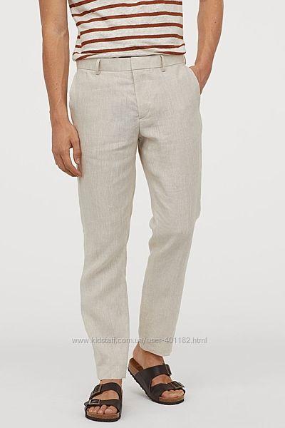 Льняные брюки HM, р.33 маломерят