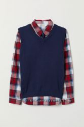 H&M. Комплект рубашка жилет галстук. Размер 4-5
