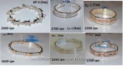 Красивые серебренные браслеты с золотой накладкой