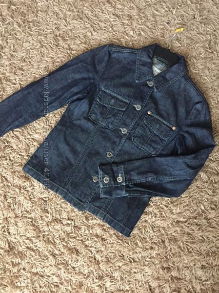 Темно-синий приталенный джинсовый пиджак next. р. 12uk наш р. 46