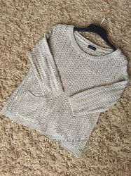 Ажурный бежевый свитер vero moda с кармашком и рукавом 34. p. s