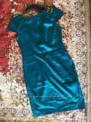 Нарядное атласное платье бирюзового цвета с камнями. oodji. р. 46