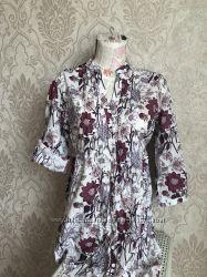 Яркая хлопковая рубашка с цветами. oodji. р. 46-48. можно для беременных