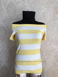 Яркая трикотажная футболка в бело-желтую полоску. saywhat. р. М наш 44-48
