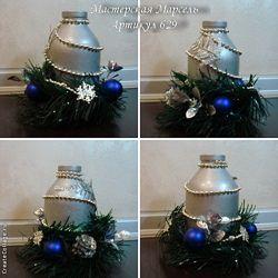 Новогодний декор - свеча-подсвечник.
