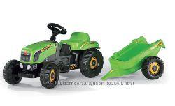 Трактор педальный зеленый Rolly Kid с прицепом Rolly-Toys 12169