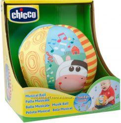 Игрушка мягкая Мячик музыкальный с коровкой Chicco 05836. 00