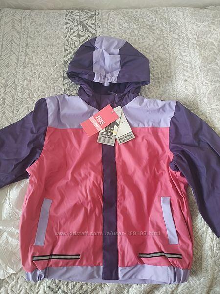 Новая куртка-дождевик утеплена флисом 116-122
