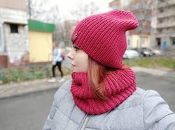 Вязаная теплая шерстяная шапка  снуд труба. Ручная работа