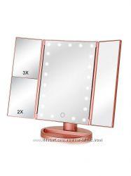 Зеркало с LED подсветкой для макияжа Superstar Magnifying Mirror розовое