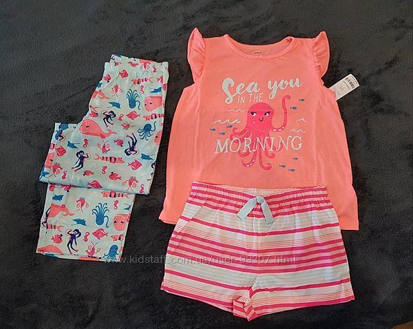КАРТЕРС пижама-тройка для девочки с осьминогом и блестками 4, 5, 6, 10 лет