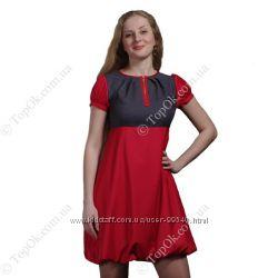 Платье серо-красный баллон