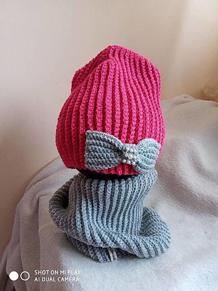Комплект для девочки шапка и хомут. Ручная работа.