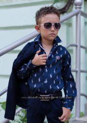 Стильные рубашки в школу для мальчика на кнопках