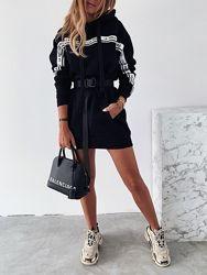 Платье-худи флис с поясом и карманами La Perla
