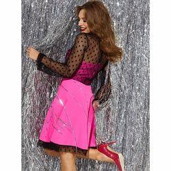 Платье Барби с сеточкой напыление флок