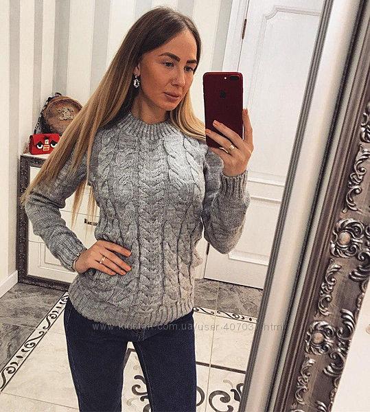 Актуальный модный свитер джемпер с косами h&m s