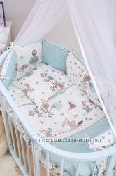 Детская постель Twins Eco Line бампер подушки Forest mint 6 эл E-111