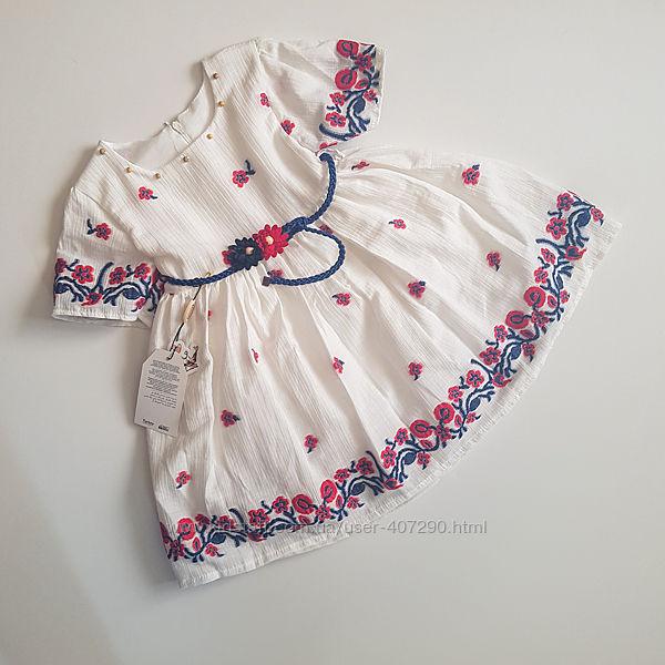Красивое летнее платье на малышек, с вышивкой. 92 и 104 р-р