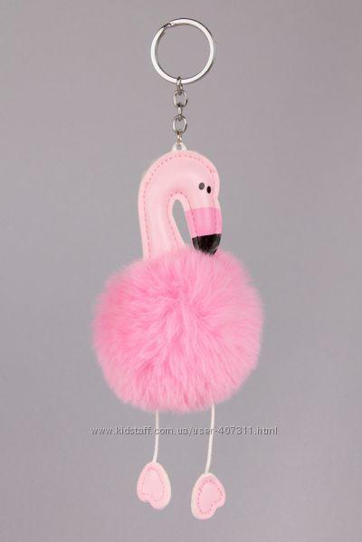 Подвеска брелок помпон Фламинго меховый розовый на 2 кольца на рюкзак сумку