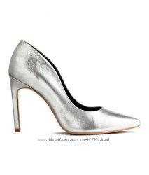 Новые серебряные туфли H&M нат. кожа 38р.