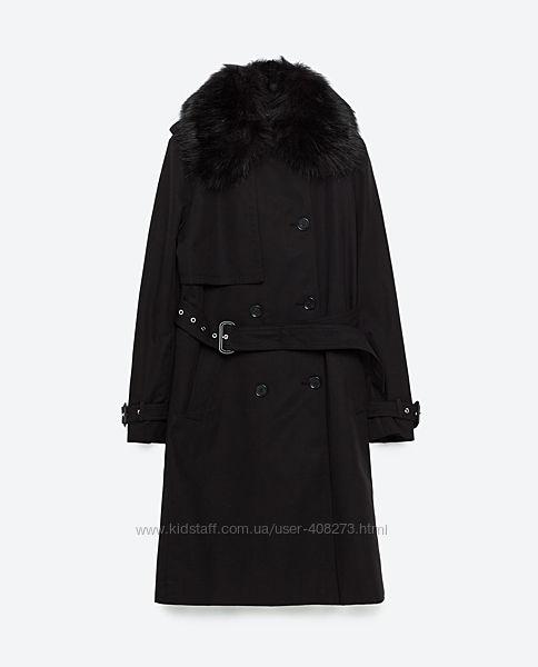 Тренч чёрный Zara со съёмным воротником размер М