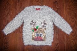 Новогодний, рождественский свитер травка олень в пайетку 3-4 года