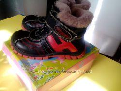 Новые зимние кожаные ботинки 25р на цигейке
