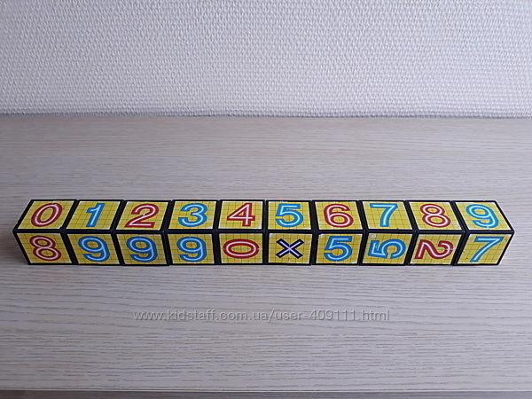 Пластмассовые кубики математика, цифры и математические знаки 10шт.