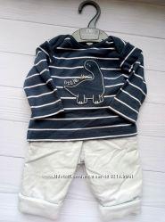 Комплект для мальчика 0-3 мс теплыми штанами MOTHERCAREновый, Без бирки