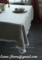 Льняная скатерть с кружевом. 100 лен
