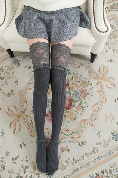 Модные стильные гетры чулки выше колен с кружевом